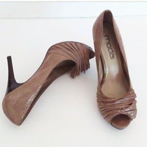 Moda Spana Lillie Brown/Cream Faux Snakeskin Heels